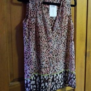Cabi tunic, blush pink animal print,  size S
